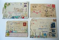 Embroidered, inked and collaged