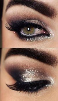 eye makeup, glitter eye and wedding eyes.