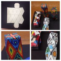 3-D box sculpture. 8th Grade. The measurements are the first challenge. (They are pictured) Tagboard,rulers,pencils,erasers, and ballpoint pens(used to help fold diagonals) ... Good luck.