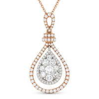 1.06ct Round Brilliant Cut Diamond Pave Tear-Drop Pendant in 18k Rose Gold w/ 14k Chain - AM-DN5516