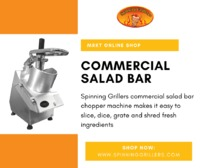 Spinning Grillers commercial salad bar chopper machine makes it easy to slice, dice, grate and shred fresh ingredients. It is great for making cabbage slaw, lettuce, Arabic Salad, Greek Salad, Cub tomatoes, cucumber onions, etc. Explore this product in de...