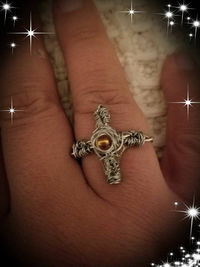 Wire Wrapped Cross with Orange Gemstone $10.00