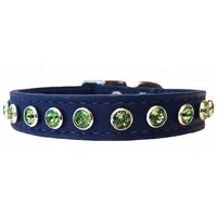 Small Dog and Cat Bling Collars | Blue Leather & Peridot Swarovski Crystal $28.00