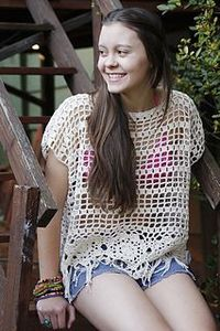 "Dancing Daisy - free crochet top pattern in sizes 30-42""by Brenda Grobler at Nurturing Fibres."