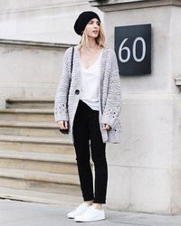 chunky grey cardigan outfit