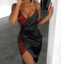 Sequin Surplice Wrap Asymmetrical Bodycon Dress-Red at www.fashionsqueen.com