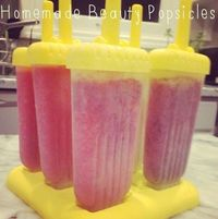 Healthy Homemade popsicles. In a blender, combine 2-3 cups of fresh fruit and 1/4 to 1/3 cup of liquid (almond milk, coconut milk, coconut water or orange juice) Blend until almost smooth Pour into Popsicle Molds Freeze for 6 hours or overnight