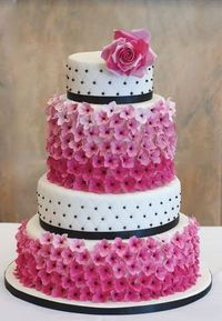 Pink Hydrangea and Rose Wedding Cake