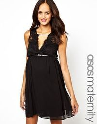 Lace Plunge Maternity Dress (Holiday Party)