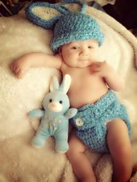 Baby rabbit hat and diaper cover Easter photo by conniemariepfost