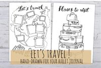 Travel Journal list, places to visit, planner view for Bullet Journal, 3 sizes in pdf e jpg, hand drawn