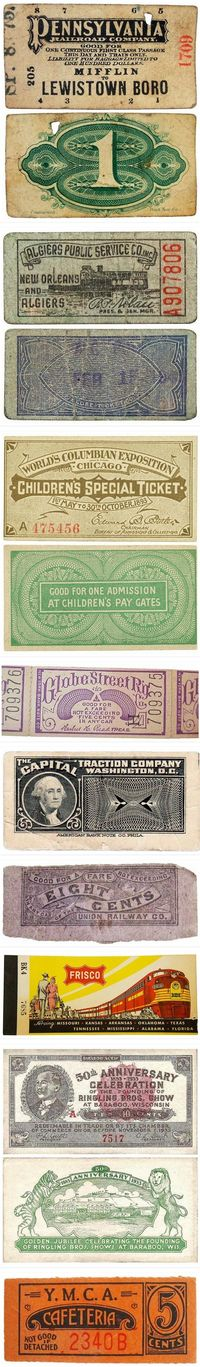 Originally posted by A. Stricklan. Vintage tickets....my friend will LOVE these! Thx for the GREAT pin!!
