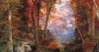 Thomas MORAN [English-born American Hudson River School Painter, 1837-1926] The Autumnal Woods (Under The Trees), 1865 oil on canvas