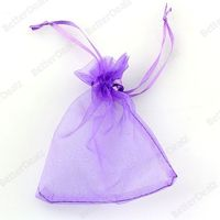 Purple Organza Jewellery Pouches Wedding Gift Favour Bags 10cmx12cm