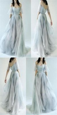 An elegant blue and gray ballgown dress.