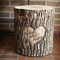 A personalized card box made from the bark of a tree stump plus 7 more DIY wedding decoration ideas: http://www.womenshealthmag.com/life/wedding-decorations?cm mmc=Pinterest- -WomensHealth- -content-life- -diyweddingdecor