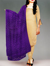 Shop online stylish chiffon dupatta at unnatisilks.com Violet color chiffon chunni.It is golden printed dupatta.Team this with matching tunics and crystal studs for a stunning effect! To buy online chiffon dupattas please visit our site http://www.unnat...
