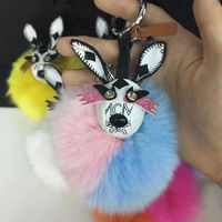 MCM Rabbit Fox Fur Charm In White
