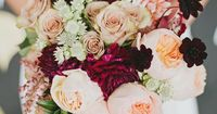 Plum peach wedding bouquet | Photo by Lauren Peele Photography