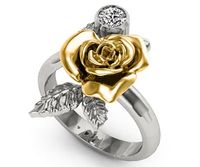 Unique Engagement Ring 2 Tone Rose Flower Leaves Ring Art nouveau Promise Ring Floral ring Birthday Gift For Her Christmas Gift in 18K Gold $1327.00