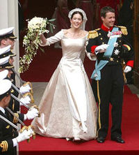 Royal Wedding Day for Crown Prince Frederik of Denmark & Mary Donaldson (now Crown Princess Mary of Denmark).