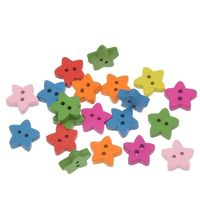 Pack of 100 Assorted Colours Xmas Wood Star Buttons. 13mm Plain Design Christmas Wooden Children's Buttons £6.69