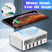 LCD Display USB Multi-port QC3.0 Type-C Fast Charging Station Hub Power Adapter