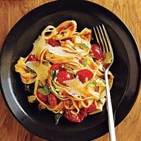 Though we paired this chunky sauce with fettuccine, it would also be nice with short pasta shapes, like penne, gemelli, or farfalle. For a more dramatic presentation, use multicolored cherry tomatoes, or a combination of cherry and pear (or teardrop-s...