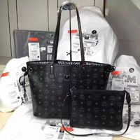 MCM Medium Reversible Liz Visetos Shopper Tote In Black