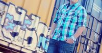 Senior Photo Shoot Male - Senior Picture ideas for guys - Train Graffiti Rail Road Tracks