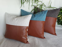 Fast Shipping/Cognac brown matte faux leather and 3 color poly linen look pillow cover/faux leather pillow cover/Housewarming Gift-1qty $26.00