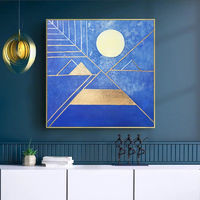 Original Geometric Goldleaf Abstract acrylic gold blue texture full moon painting on canvas living room large art home cuadros abstractos $104.75