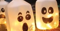 Cute! Milk jug ghost for Halloween - great idea for decorating outdoors