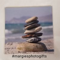 6x6, Stacked Stones on a Beach, Ceramic Tile, Home Decor Decoration, Art Accent, Gifts for Him Gifts for Her $15.99
