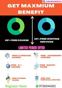 Free C, C++, Python courses |Free PhD Writing Services @LIB  LearnInbox is Indias best eLearning platform offering Free Assignment writing, Free PhD Proposal Writing, Free Paper Survey and research paper online. We at LIB are experts at Training student...