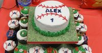 I was asked to make Boston Red Sox themed cupcakes and a smash cake for a little boys first birthday party. The Boston B's are chocolate transfer most of the ot