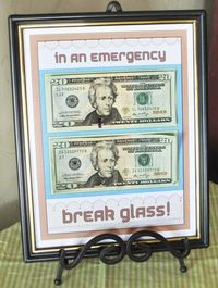 You can use a dollar store frame, of course, since the recipient will likely take the money out right away. Still, it's a fun way to offer the gift of cash. I've seen this done before, but not like this.
