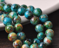 Pack of 14 Round Mottled Glass Beads. 10mm Assorted Multicoloured Ball Spacers £5.99