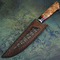 Professional Kitchen Knife Hand forged blade French Chef knife Shape Leather Scabbard $298.00