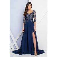 Terani Couture - 1723M4393 Laced Scoop Neck A-Line Dress - Designer Party Dress & Formal Gown