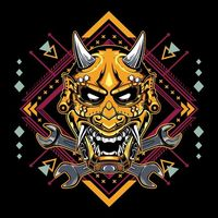 Japanese devil mask hannya with wrench emblem | Premium Vector.