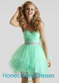 Strapless Sweetheart Ruched Mint Lovely Tulle Cocktail Dress
