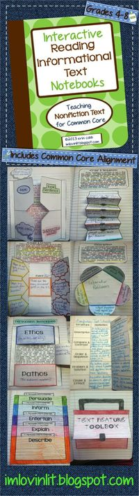Grades 4-8. Interactive Reading Notebooks: Informational Text ~ Teaching Nonfiction Strategies for Common Core. Some topics: main idea, outlining nonfiction, summarizing, author's purpose, text structure (description, problem/solution, cause/effec...