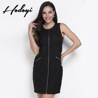 Vogue Sexy Simple Slimming Sleeveless High Waisted Zipper Up Accessories One Color Spring Dress - Bonny YZOZO Boutique Store