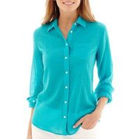 """Stylus�""""� Long Sleeve Gauze Button Front Shirt - JCPenney"""