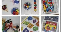Very simple workbox activities -- keep a toddler/preschooler busy while you work with an older child. Similar ideas could also be used for a special needs child to build independent work skills.