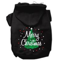 Scribbled Merry Christmas Dog Hoodie - Black $25.00