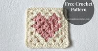 #crochet, free pattern, Love Heart Granny Square, Pale Rose Crochet, blanket, throw, afghan, #haken, gratis patroon (Engels), granny square met hart motief, deken, sprei, kraamcadeau, #haakpatroon