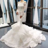 Vintage Off Shoulder Long Sleeves Wedding Dresses 2019 White Handmade Flowers Sexy Bride Gown Real Photo Custom Made 66734