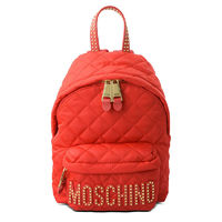 MOSCHINO STUDDED LOGO QUILTED BACKPACK RED
